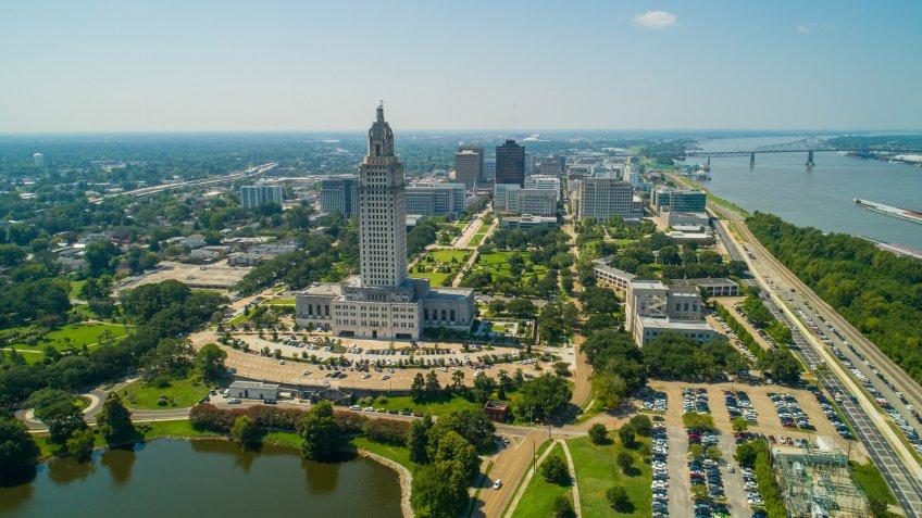 Aerial photo Downtown Baton Rouge Louisiana USA.