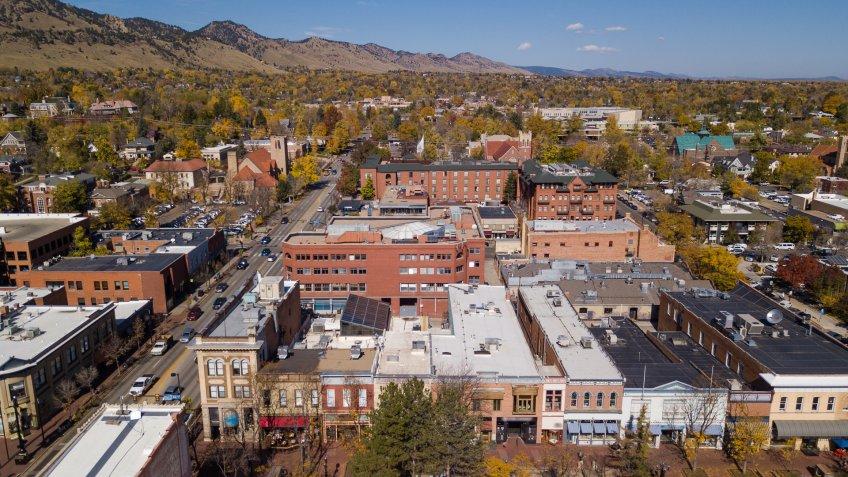 Aerial view of Boulder, Colorado.