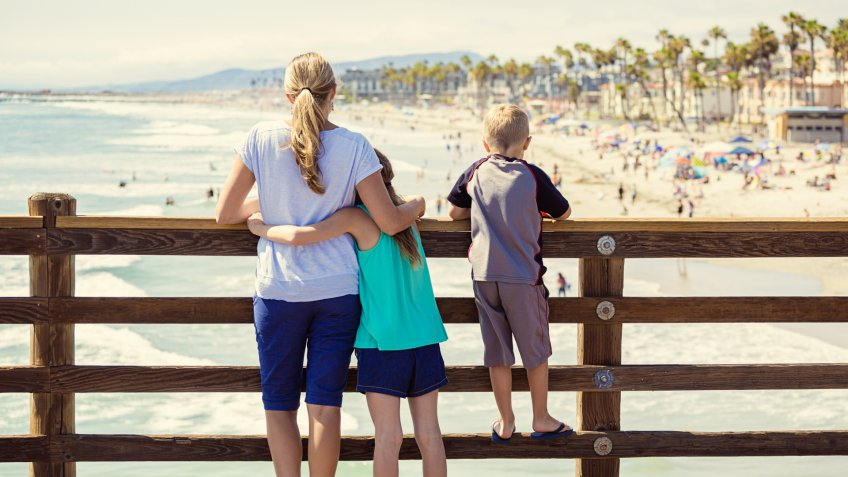 Young family hanging out on an ocean pier on vacation in Southern California - Image.
