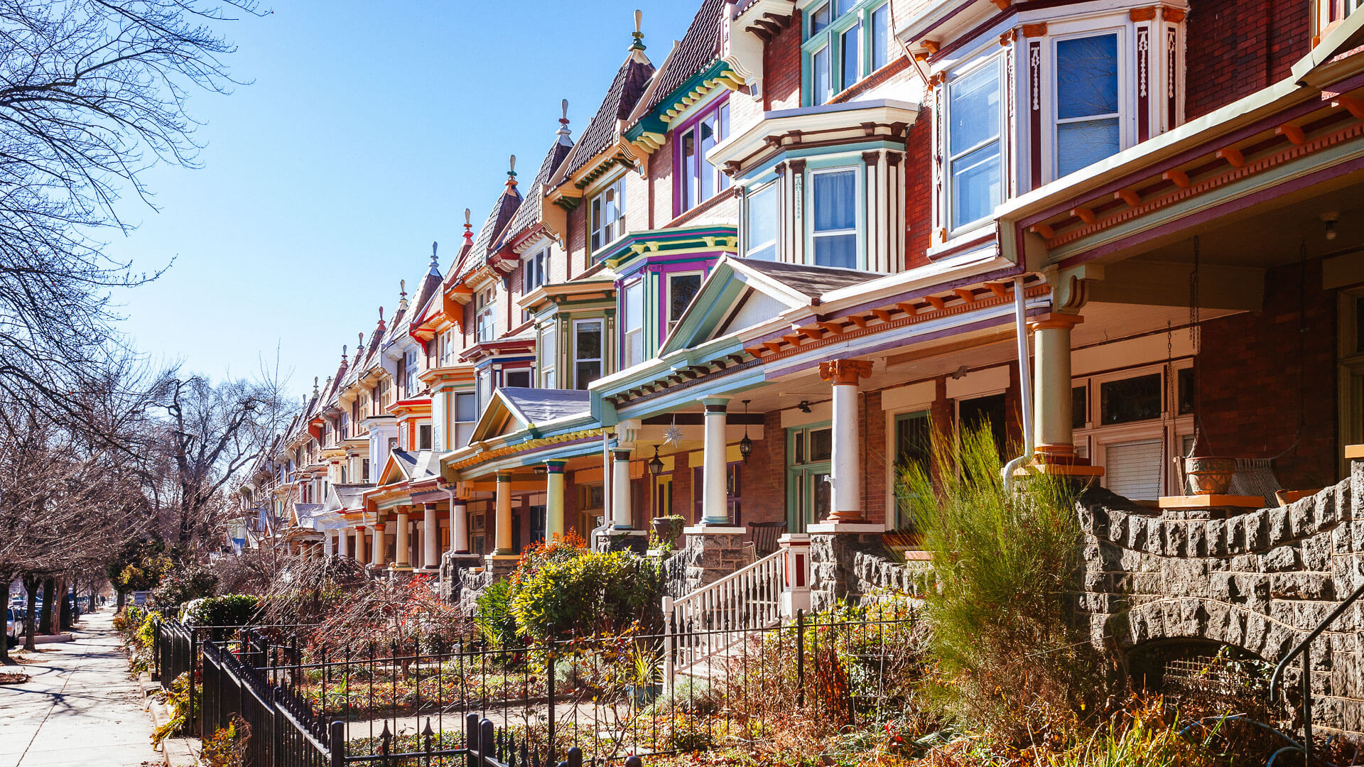 Colourful row homes in Charles Village in Baltimore Maryland