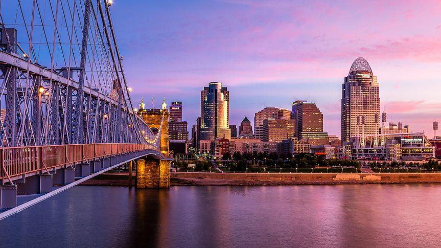 Cincinnati Skyline at sunset.