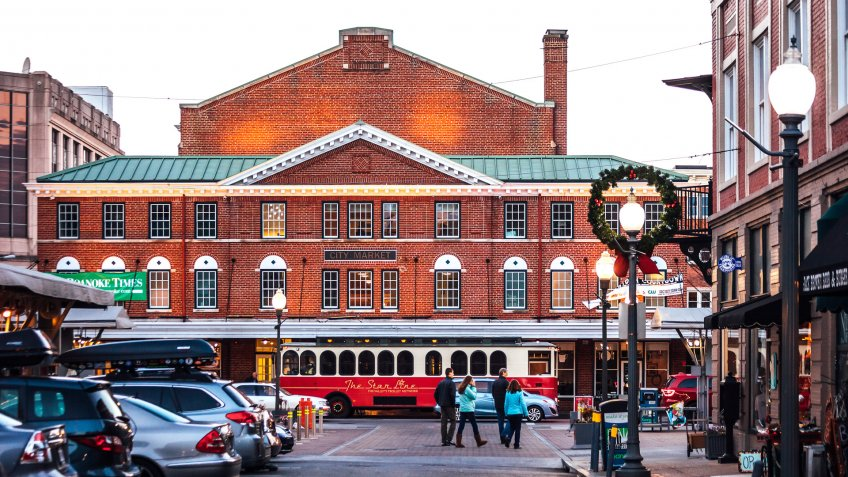 City Market building in historic district in Roanoke Virginia