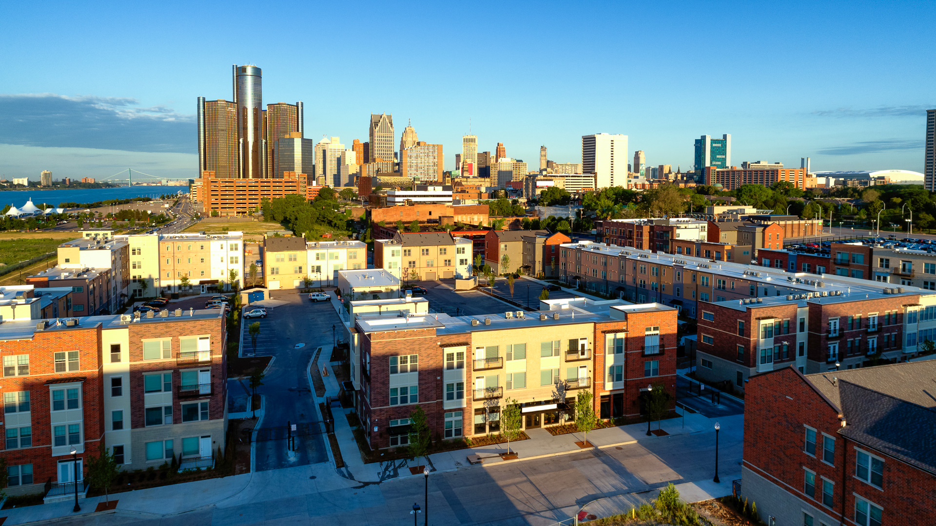 Aerial view of Detroit downtown in morning.