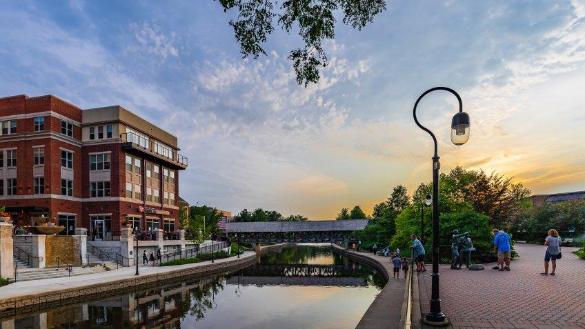 Downtown Naperville Riverwalk in Illinois
