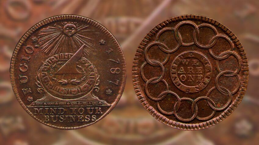 Fugio Cent first US penny designed by Benjamin Franklin