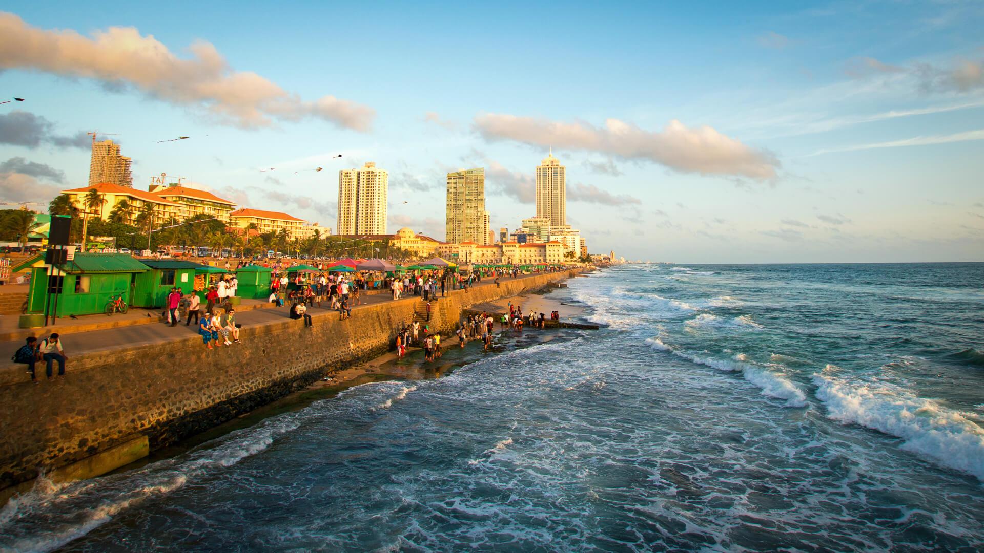 Galle Face Green ocean view in Colombo Sri Lanka