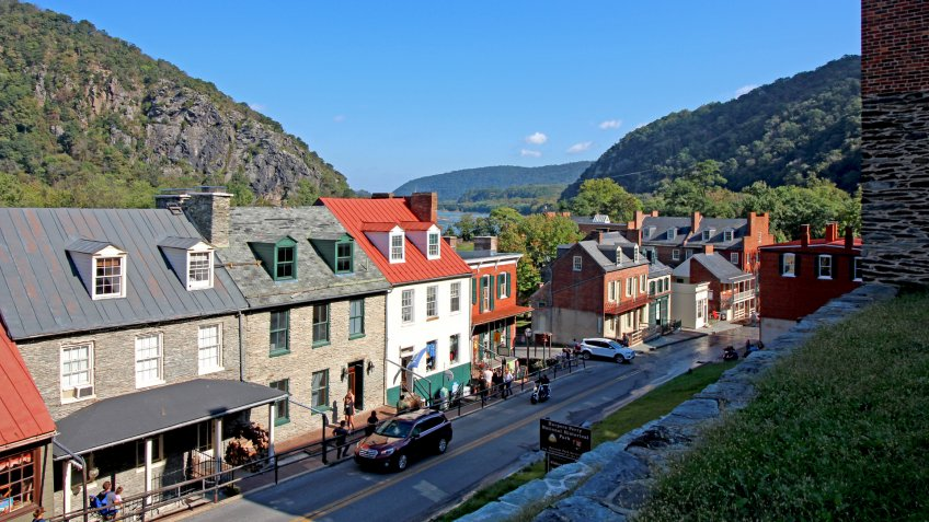 Harper's Ferry, West Virginia, USA - October 7, 2018 - View of High Street and Lower Town.
