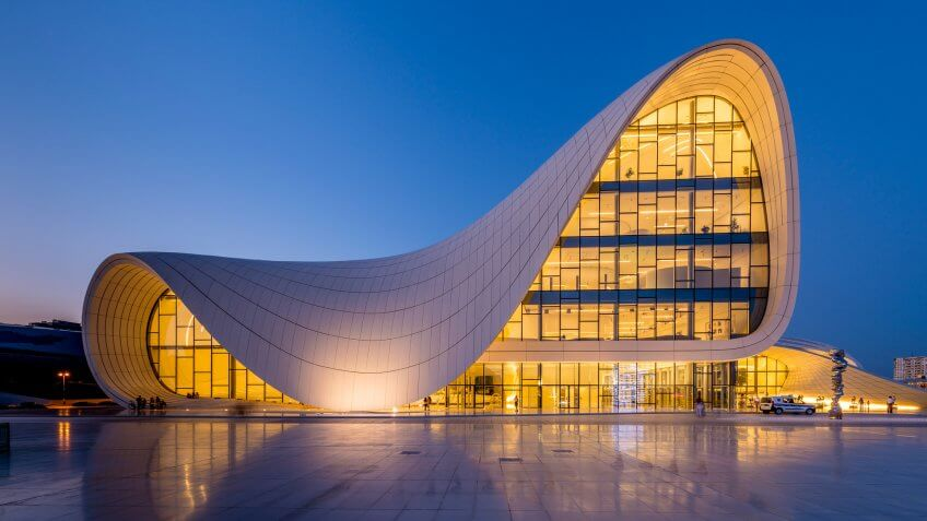 Heydar Aliyev Center designed by Zaha Hadid female architect