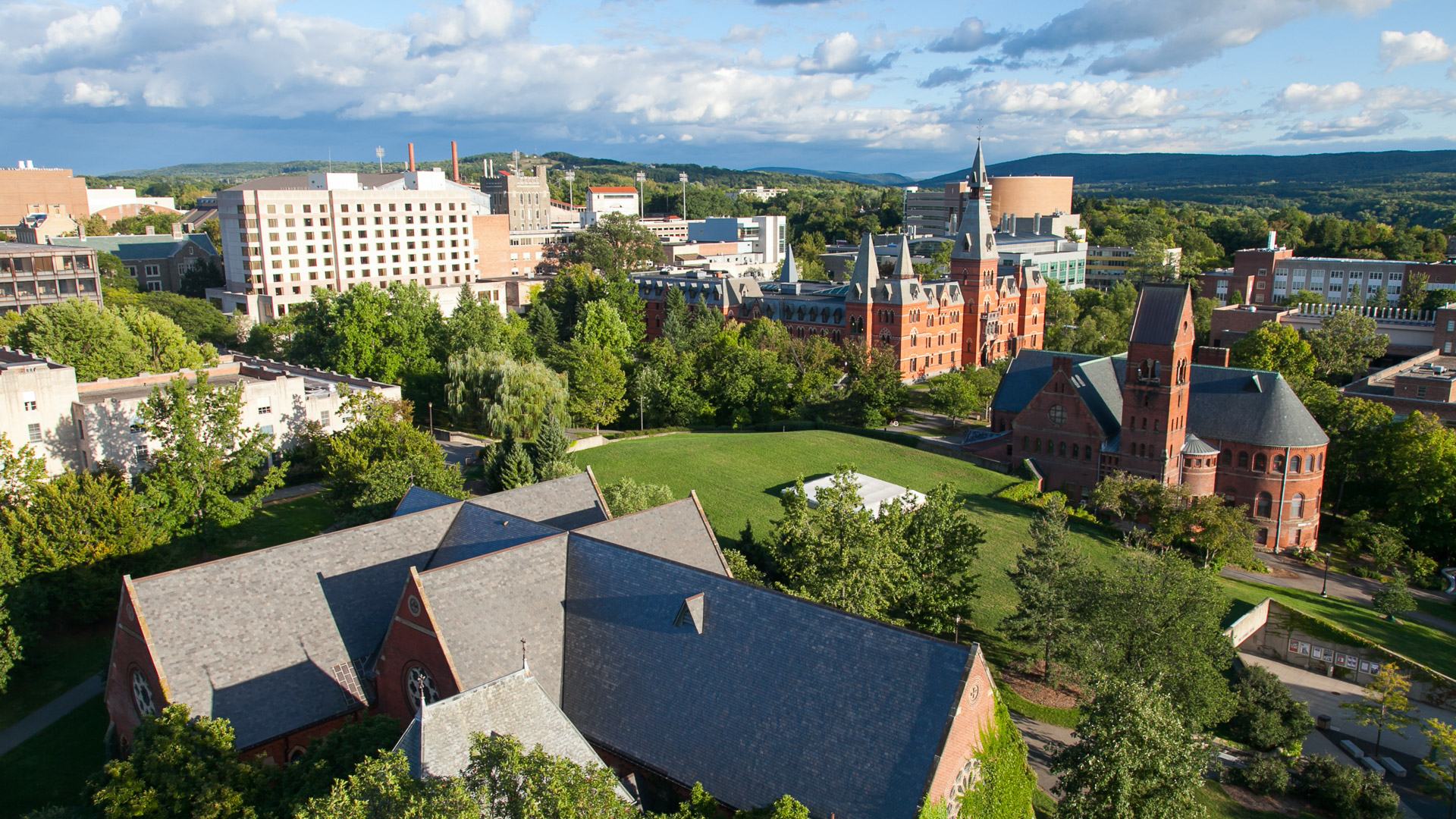 Ithaca New York aerial view of Cornell University