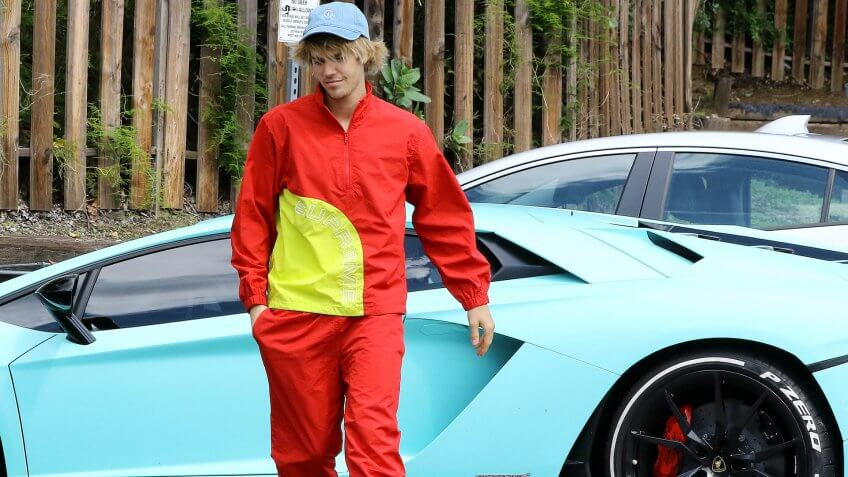 Justin Bieber and his Lamborghini Aventador coupe