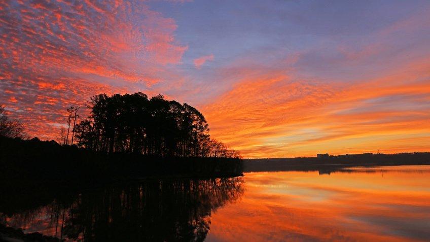 Sunrise at Lake Crabtree County Park, Morrisville, NC.