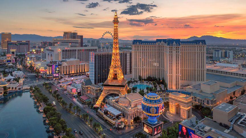 Aerial view of Las Vegas strip at sunrise on July 24, 2018 in Las Vegas, Nevada.