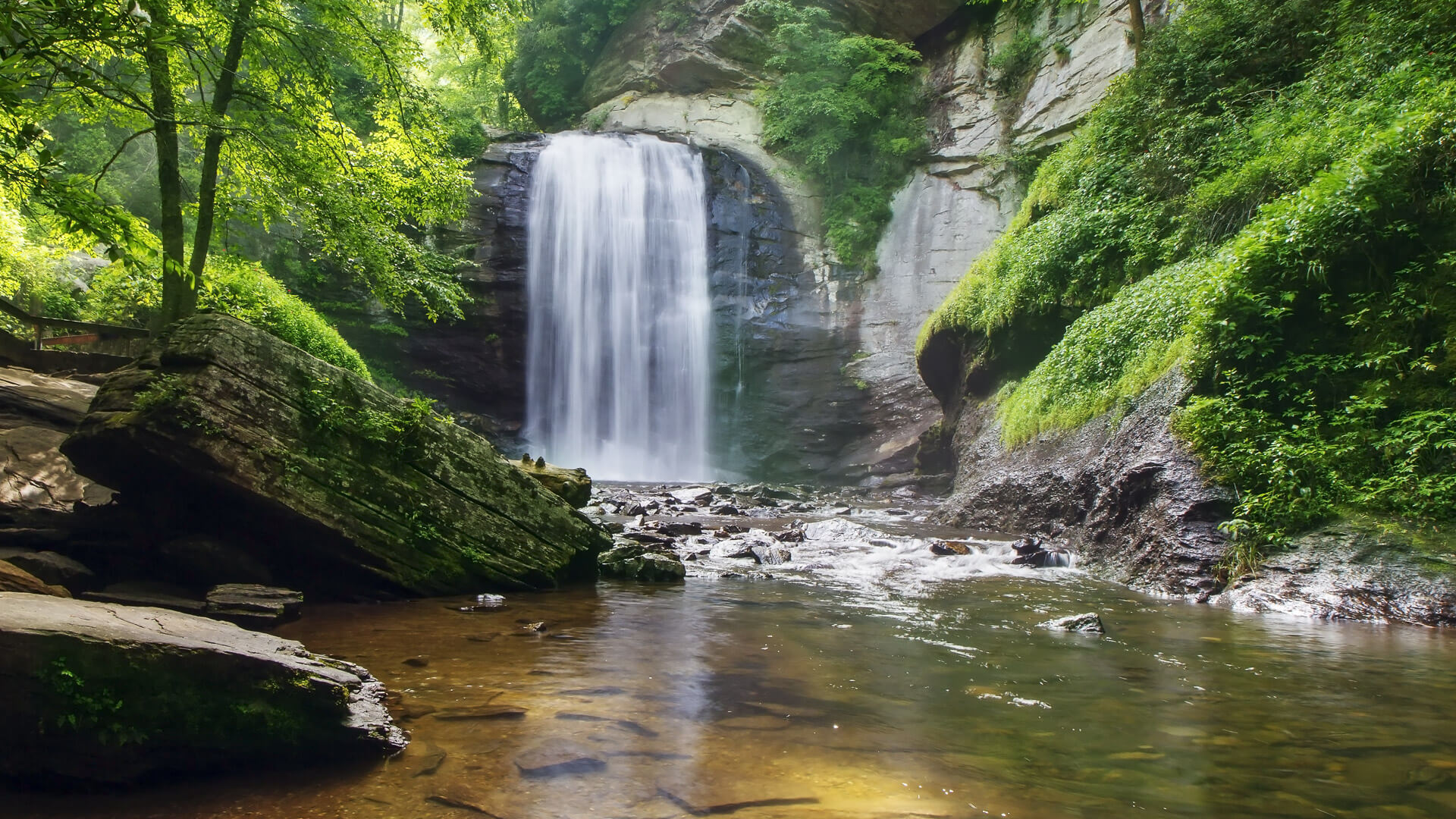 Looking Glass Falls in the Pisgah National Forest in Brevard Nor