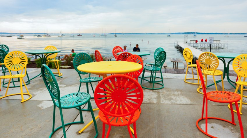 Madison, Wisconsin, USA - July 11, 2017: Colorful chairs at Memorial Union Terrace on the campus of the University of Wisconsin–Madison.