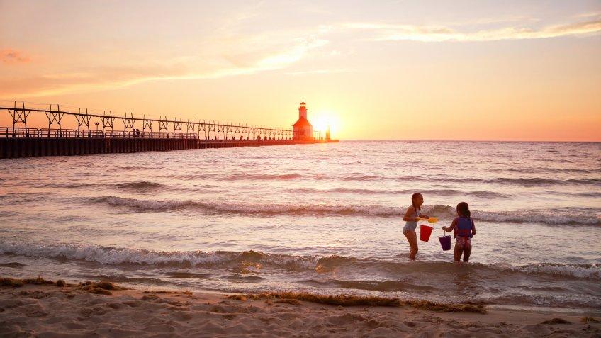 St Joseph Lighthouse on Lake Michigan at sunset - Image.