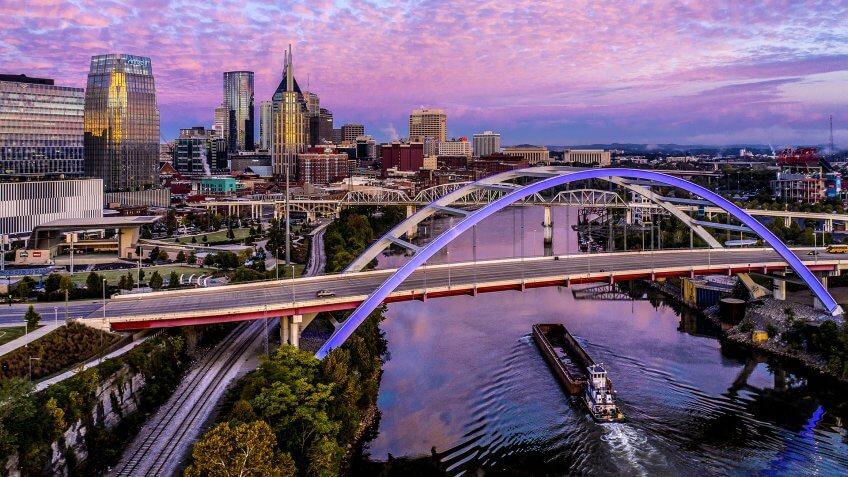 Nashville,TN Dawn Aerial.