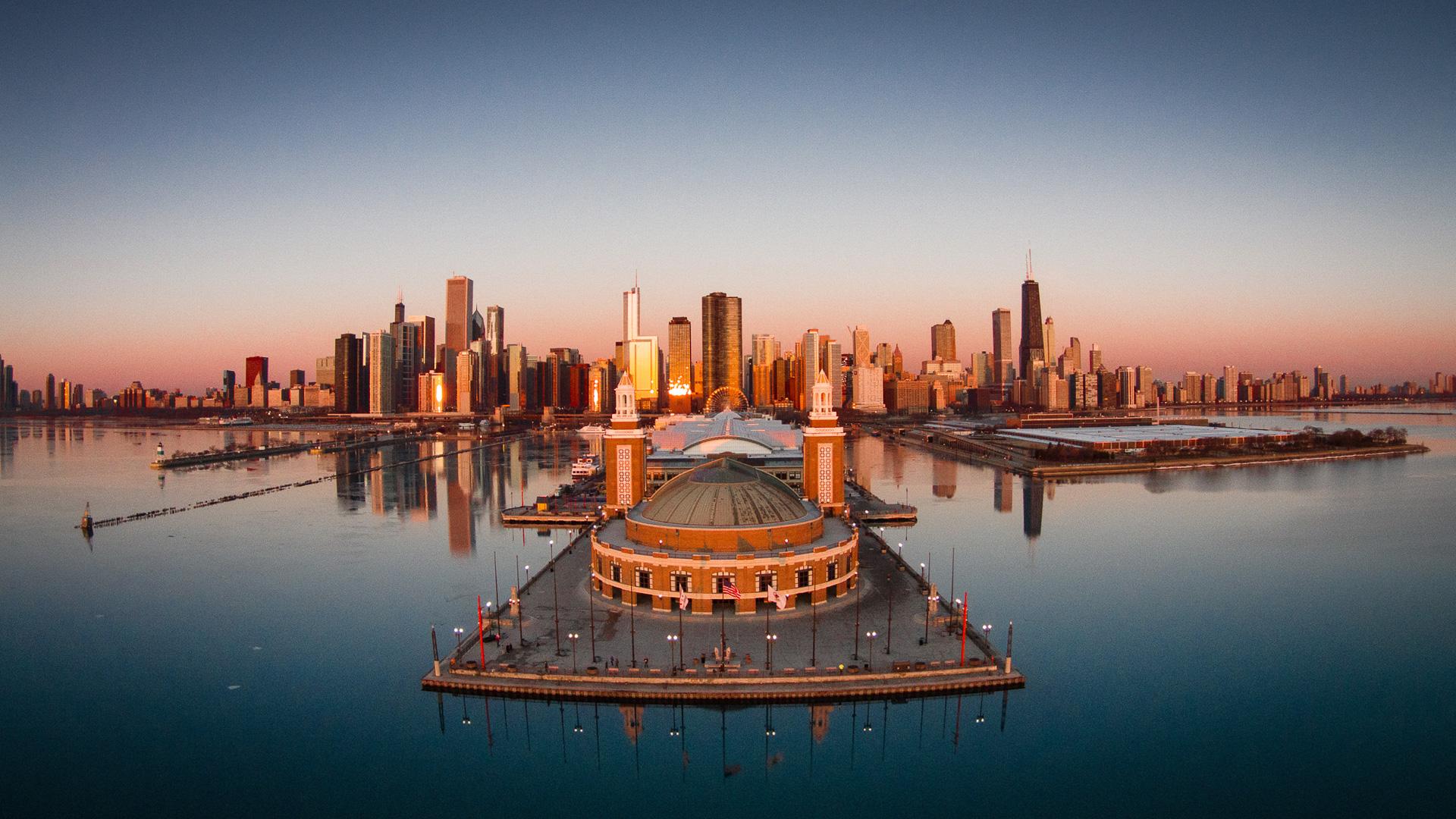 Navy PIer aerial of Chicago Illinois