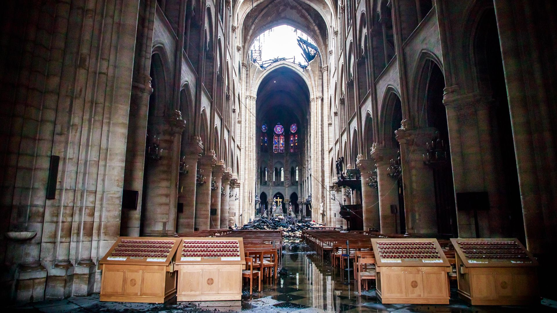 Interior of Notre Dame after catching fire in Paris France