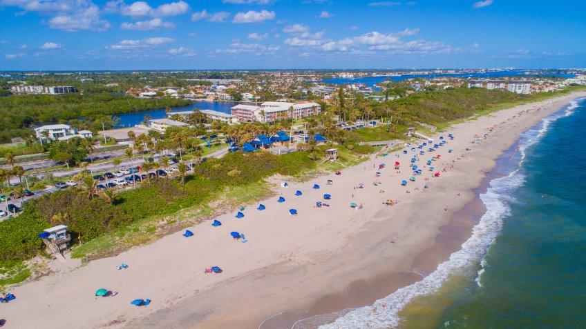 Aerial drone photo of the Oceanfront Beach Park Boynton Florida.