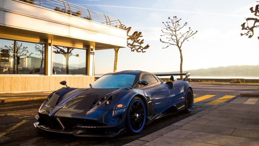 Geneva, Switzerland - March 2018: Pagani Huayra BC Macchina Volante hypercar parked at a luxury hotel in central Geneva.