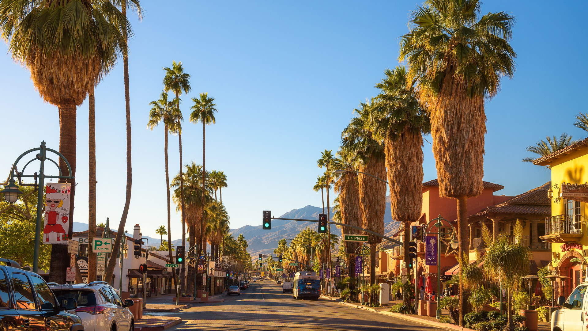 Palm Springs, California, USA - December 27, 2017 : Scenic street view of Palm Springs at sunrise.