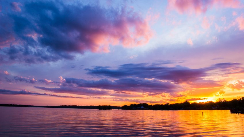 Pewaukee Lake sunset in Wisconsin