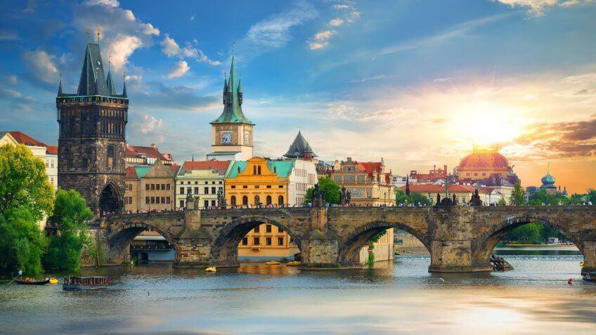 Tha Charles Bridge in Prague at summer day - Image.