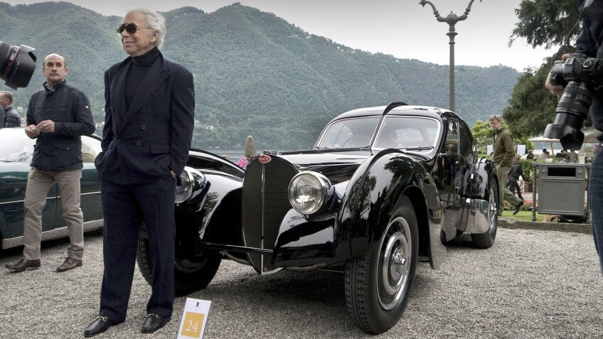 Ralph Lauren and his Bugatti Type 57SC Atlantic automobile