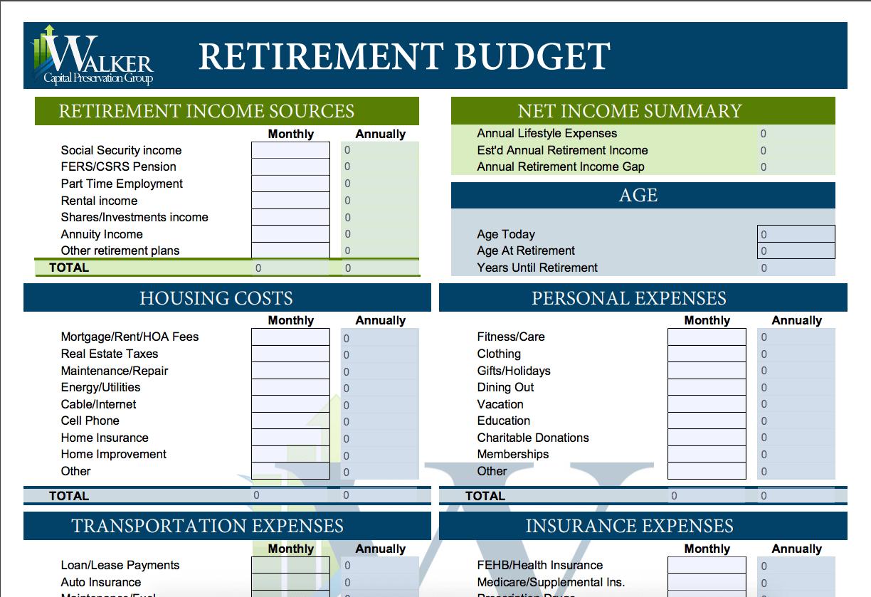Retirement Budget Template