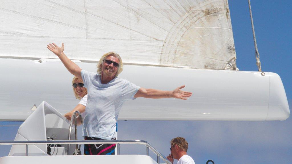 Photo by Ingrid Abery/REX/Shutterstock Sir Richard Branson on his 105ft catamaran Necker Belle, Tortola, British Virgin Islands Sir Richard Branson's 105ft Catamaran Necker Belle, Tortola, British Virgin Islands - 03 Apr 2011