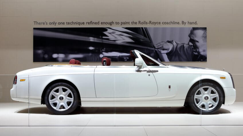 PARIS, FRANCE - SEPTEMBER 30: Rolls Royce Phantom Drophead Coupe at Paris Motor Show on September 30, 2010 in Paris.