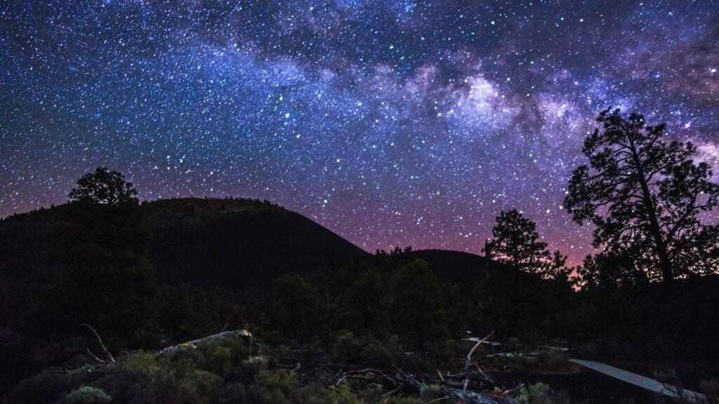 Sunset Crater Volcano National Monument is one of several Dark Sky Places neighboring the Coconino National Forest.