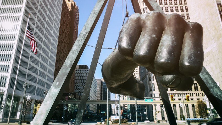 The Monument to Joe Louis in downtown Detroit Michigan