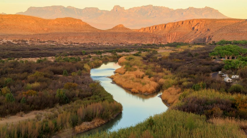 The Rio Grande as viewed from the Rio Grande Village Nature Trail in Big Bend National Park, Texas.