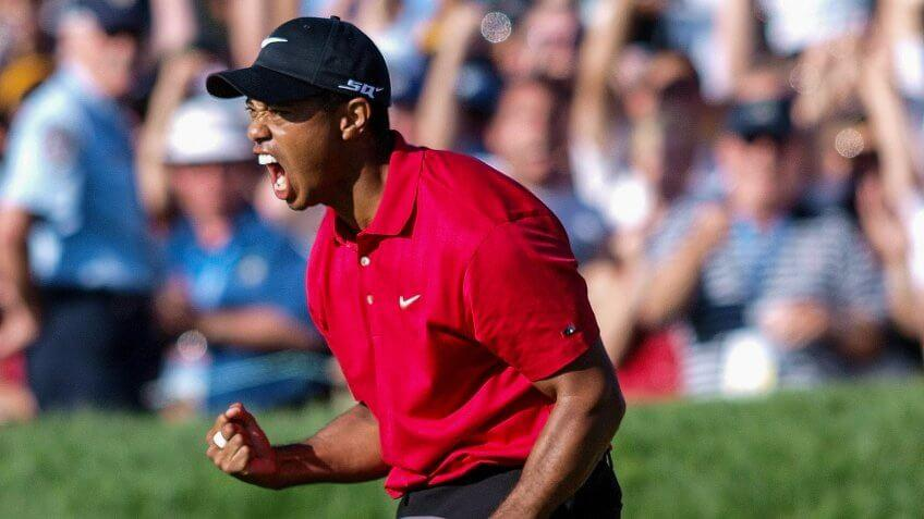 Tiger Woods celebrates at US Open at Torrey Pines in San Diego