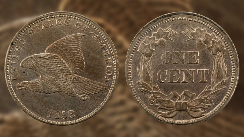 US 1858 1 cent Flying Eagle Penny