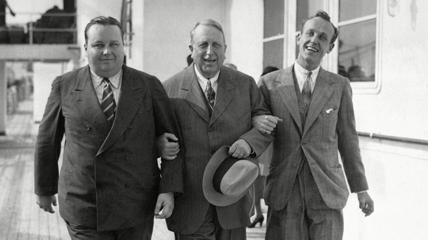 """Photo by Uncredited/AP/REX/Shutterstock William Randolph Hearst, William Randolph Hearst Jr., George Randolph Hearst William Randolph Hearst, center, and his sons, George, left, and William Jr., right, walk arm-in-arm as they arrive in New York on the liner Bremen, . The Hearsts were on a four-month tour pf Spain, England, Holland, Belgium, Austria, Italy and Germany. When interviewed, Mr. Hearst said """" I saw no disturbance anywhere. There were no riotous strikes, no racketeering, no kidnapping, no gang murders, no organized lawlessness and no violence William Randolph Hearst, New York, USA"""
