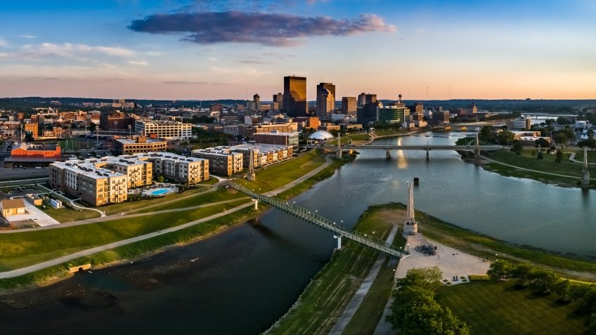 aerial of Dayton Ohio skyline