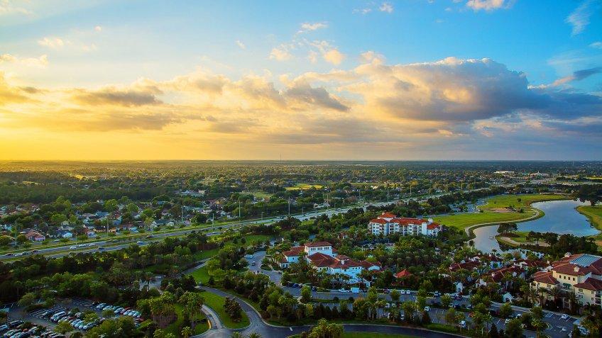 aerial sunset overlooking Orland Florida metropolitan area