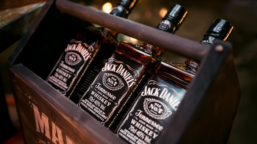KAZAN, RUSSIA - MARCH 8, 2018 - Bottles of Jack Daniels Tennessee whiskey No.