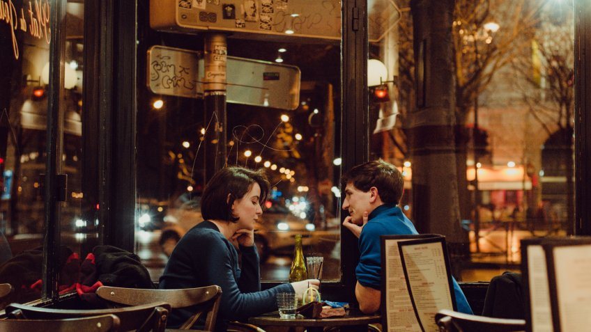 couple on a dinner date in the city