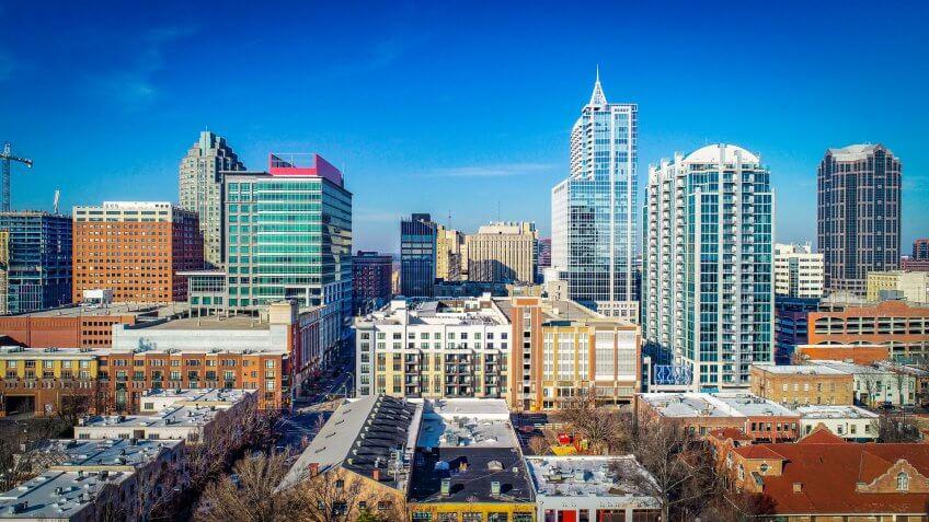 Downtown Raleigh, North Carolina, USA Skyline Aerial.
