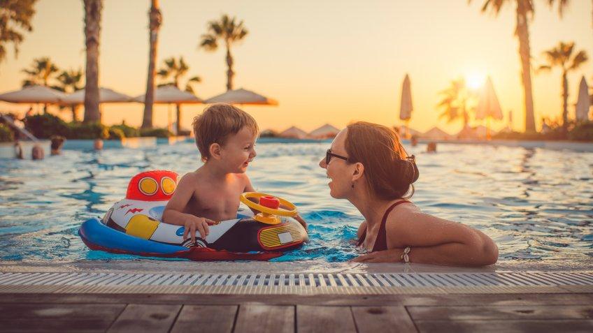 Family having fun on summer vacations.