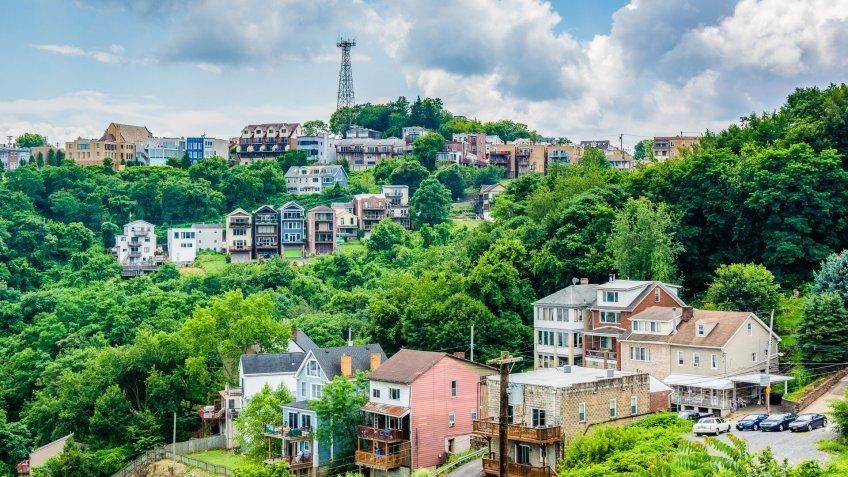 homes in Mount Washington neighborhood in Pittsburgh Pennsylvania