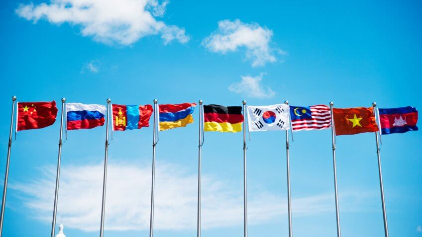 Flags under the blue sky.
