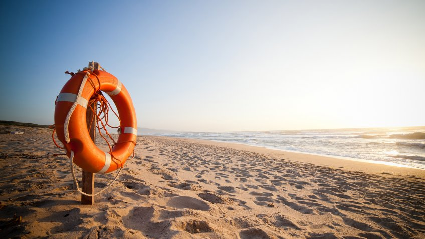 Life Buoy in sunset - Image.