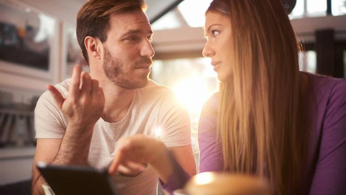 millennial woman hesitant about her boyfriends debt