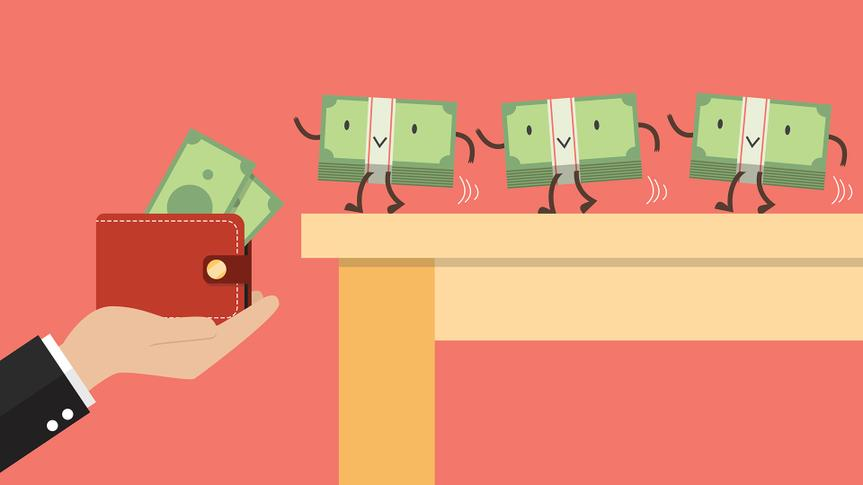 Money walking into a wallet.