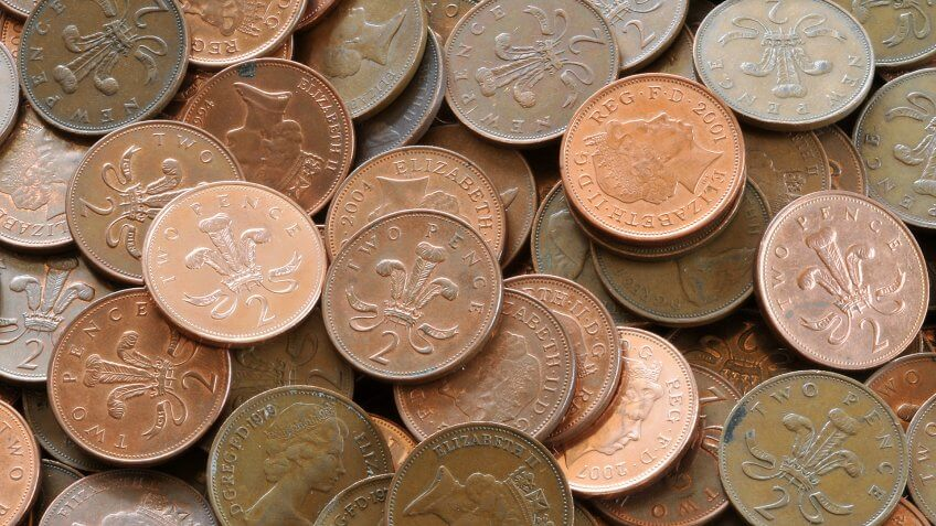 North Yorkshire, England, Britain, April 2008, British two pence coins - Image.