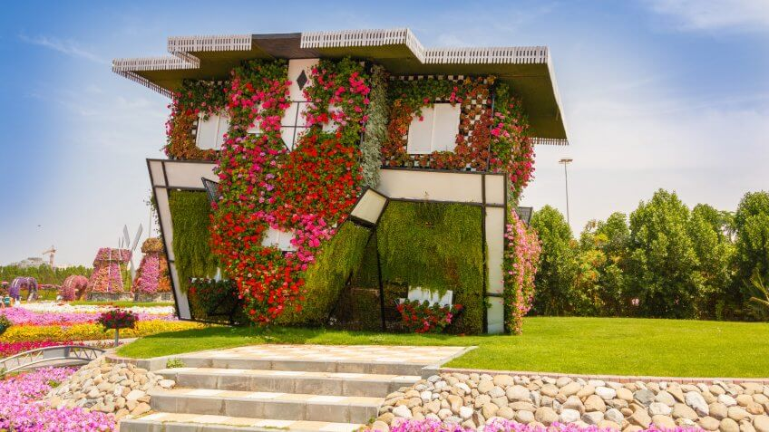 upside down house in Dubai Miracle Garden United Arab Emirates